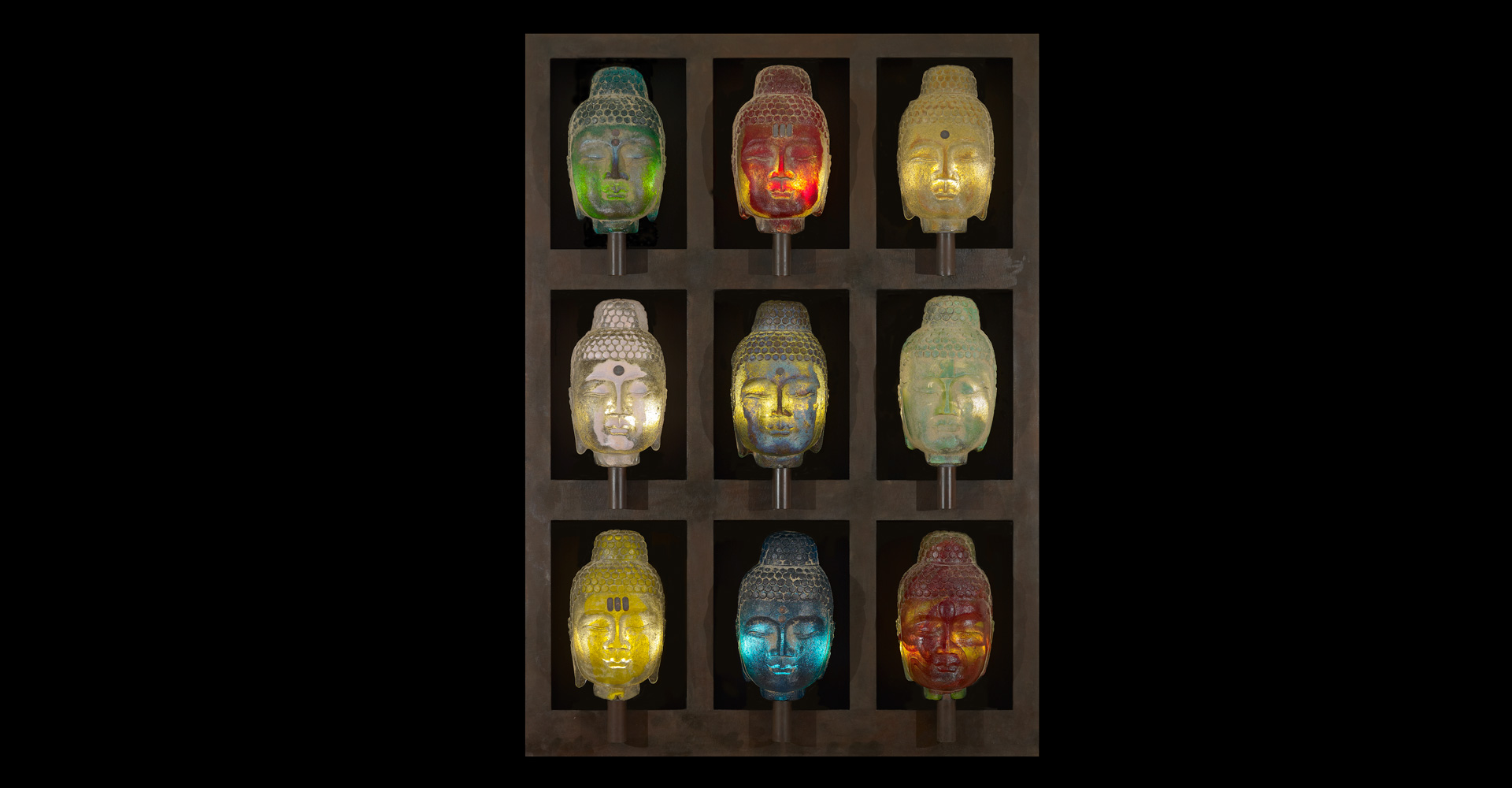 Buddha Wall cast glass art by Marlene Rose