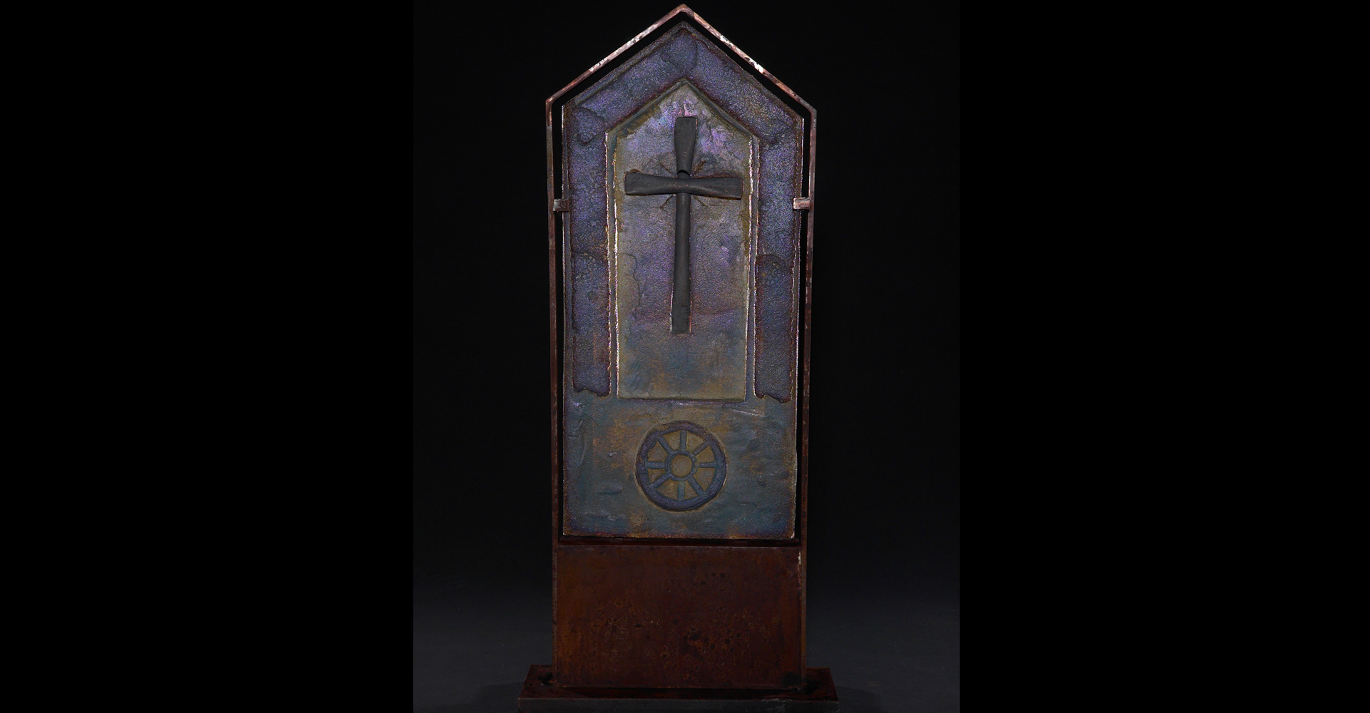 Khachkar Metallic sand cast glass art sculpture by Marlene Rose