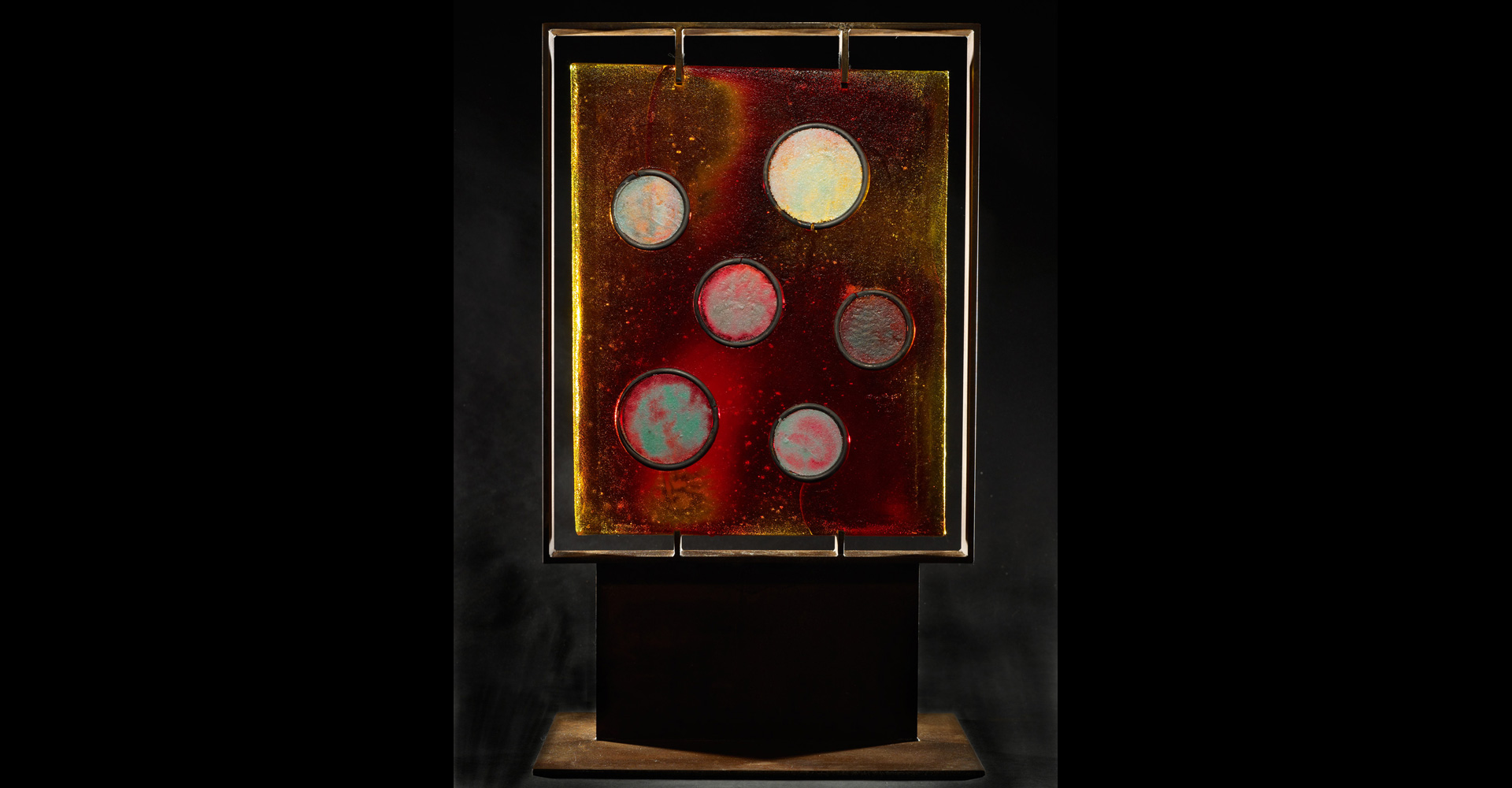 Panel Amber Door With Circles sand cast glass art sculpture by Marlene Rose